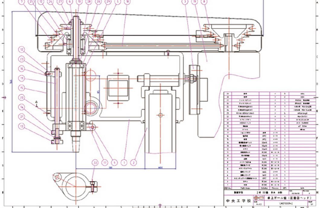 設計製図Ⅱ(ボール盤の設計)