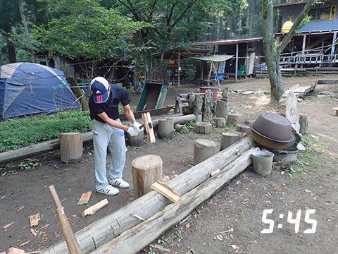 薪割りの早朝練習